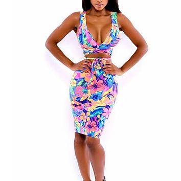 Summer Women Body Bandage Midi Dress Two Piece Set