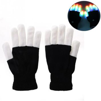 Flashing Fingertip Light 7 Mode LED Gloves Mittens Costumes Rave Party Skating Riding Party Accessory