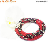 SALE Red golden black necklace Bead rochet rope choker node fortune print jewelry ethnic jewelry celtic knot gift for her Valentine's day