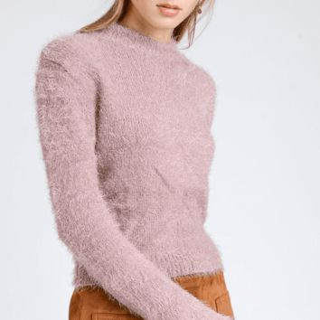 Women's Cropped Fuzzy Sweater with Crew Neck