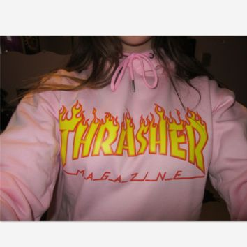 """Thrasher""Thickening hoodie cotton red flame red letters Pink"