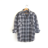 Vintage thick washed out gray boyfriend flannel shirt / plaid shirt / urban grunge shirt / tomboy shirt