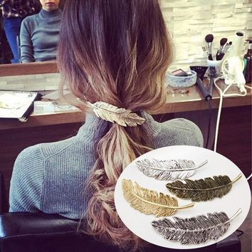 1pc Vintage Side Hair Clips Leaf Pattern Feather Shape Hairpins Barrette Alloy Retro Hair Grips Hair Ornaments Hair Accessories