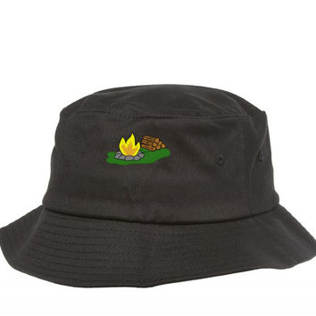 sp0673 campfire embroidery Bucket Hat