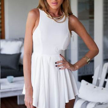 White Sleeveless A-Line Pleated Mini Dress
