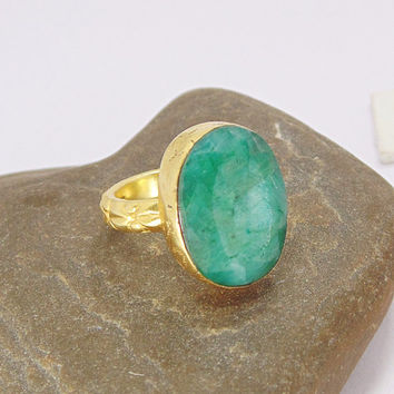 Green Emerald Ring - 18k Gold Plated Ring - Handmade Ring - Corundum Ring - Oval Gemstone Ring - Bezel Setting Ring - Large Statement Ring