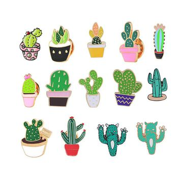 Fashion Cartoon Cactus Brooches Cute Mini Plant Pot Enamel for Women Denim Jackets Lapel Pins Hat Badges Kid Jewelry Accessories