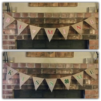 Reversible Valentine's St. Patrick's Day Banner, Burlap Valentines Day Banner, Burlap St. Patricks Day Banner, Valentine's Day Photo Prop