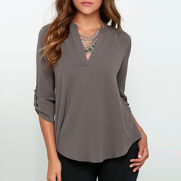 V-Neck Button Tab Long Sleeve Chiffon Blouse