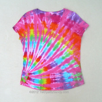 Large Women's V-neck Tie Dye Shirt- Pink Rainbow Offset Spiral- Mother's Day Gift for Her