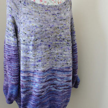Ready to be shipped today/ Oversize Faded Sweater/KNIT from super wash merino Indie Speckled yarn/ XL-3XL sizes/ Purple speckled Sweater