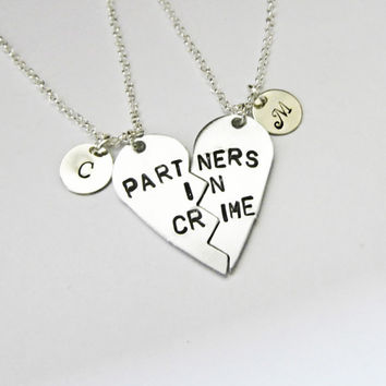 PARTNERS IN CRIME necklace, initials friendship necklace set, best friends, best bitches, broken heart set, sisters gift jewelry, matching