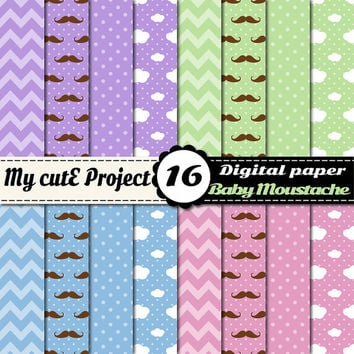 Moustache and cloud - Digital paper pack - Pastel  - Scrapbooking - 12x12 - A4 - Polka Dots, chevron - pastel lilac, blue, green, pink- baby