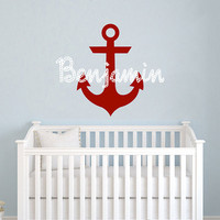 Personalized Anchor Name Wall Decal Vinyl Sticker Custom Name Decals Nautical Anchor Underwater Baby Name Nursery Boys Room Decor AN614