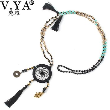 V.YA  Bohemia Necklace Pendant for Ladies Women Tassel Jewelry Woman's Seed Beads Necklace with Palm Boho Long Chain