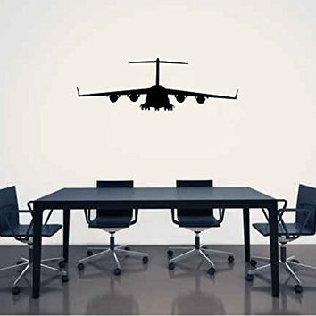 Lockheed C-17 Globemaster Airplane Silhouette Vinyl Wall Decal Sticker