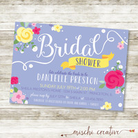 "Bridal Shower Fresh Modern and Pretty Florals DIY Printable Invitation in Periwinkle, Pinks and Yellow, 5"" x 7"""