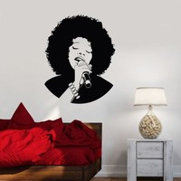 Wall Decal Karaoke Beautiful Woman Black African Lady Music Vinyl Decal Unique Gift (ig2850)