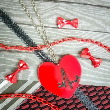 Heartbeat Red Necklace