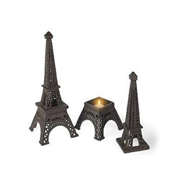 Abbott Collection Dark Brown Eiffel Tower Candle Holder