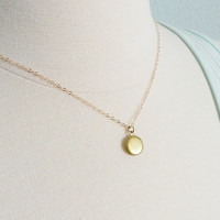 Tiny locket necklace on gold filled chain, gift for her