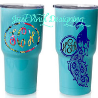 Exclusive color, SIC Tumbler, Monogram Tumbler, Robin Egg Blue, Peacock Monogram, Limited