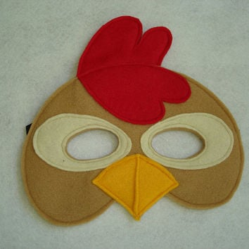 Children's Brown CHICKEN Farm Animal Felt Mask