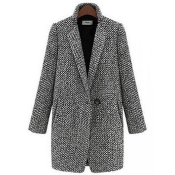 Houndstooth Tweed Wool Long Sleeve Women Trench Coat Jacket
