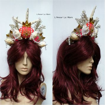 Orange Gold Tiara Mermaid Crown Cosplay Dance Costume
