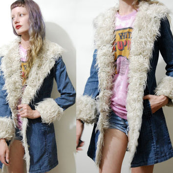 90s Vintage PENNY LANE Faux Fur & Denim JACKET Coat White/Cream Faux Shearling Trim Edge Bohemian Boho Hippie Gypsy Grunge 1990s vtg xs s