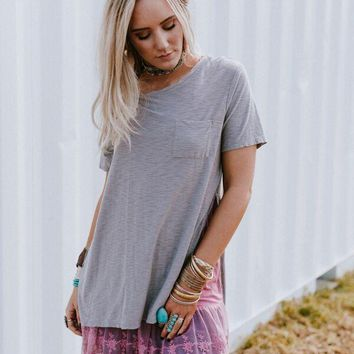 Lounge Around Oversized Pocket Tee - Gray