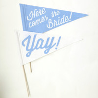 Here Comes the Bride Yay Ringer Bearer Pennant Flags - Blue & White for Ceremony Attendant, Photo Booth prop