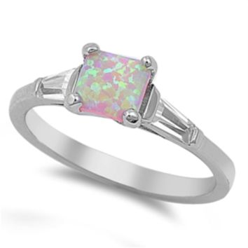 .925 Sterling Silver Pink Opal Ladies Ring Size 4-10 Princess Cut Solitaire