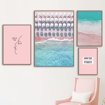 Beach Sea Pink Line Face Quotes Nordic Posters And Prints Wall Art Canvas Painting Landscape Wall Pictures For Living Room Decor