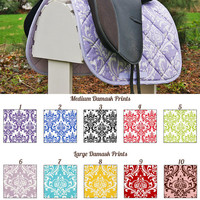 MADE TO ORDER Damask Print Saddle Pad Many Colors