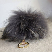 Genuine Fur Pom Pom luxury bag pendant with real  leather strap buckle clasp bag charm totem GREY