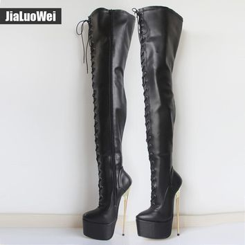 jialuowei 2017 New Women 22CM Ultra High Heel Lace-Up Platform Gold Metal Stiletto Heels Pointed Toe Over Knee Crotch High Boots
