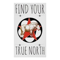 Red Star Mountain Goat True North Poster