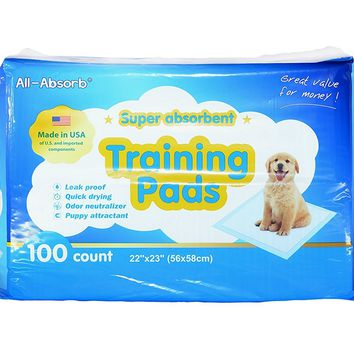 All-Absorb Dog Training Pads 22-inch By 23-inch. 100 Count