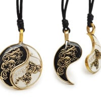 Dragon Yin Yang Best Friend Handmade Brass Necklace Pendant Jewelry