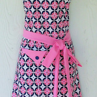 Navy and Pink Apron, Retro Style Apron, Geometric Print, Women's Full Apron, Vintage Inspired, Handmade, KitschNStyle