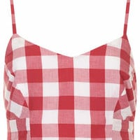 Red Gingham Bralet - Red