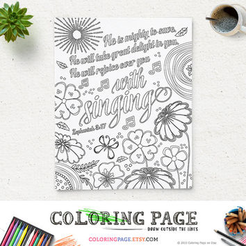 Coloring Page Printable Bible Verse He Is Mighty Zephaniah 317 Instant Download Pages