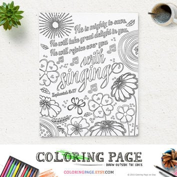 Coloring Page Printable Bible Verse He is mighty Zephaniah 3:17 Instant Download Coloring Pages Printable Quote Anti Stress Art Therapy