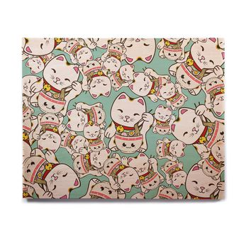 "Juan Paolo ""Ramen Cats"" Teal White Birchwood Wall Art"