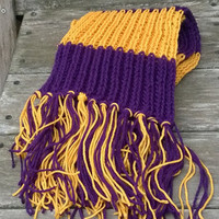 Knitted Scarf - Minnesota Foorball Fan Scarf - Purple and Gold - Mens Scarf - Womens Scarf