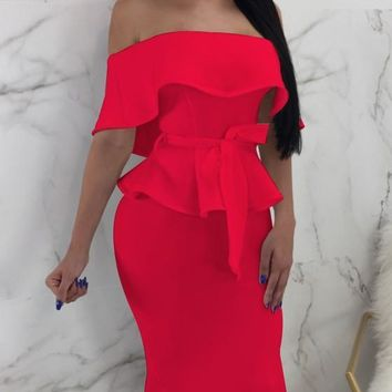 Red Ruffle Sashes Off Shoulder Peplum Backless Two Piece Elegant Party Midi Dress