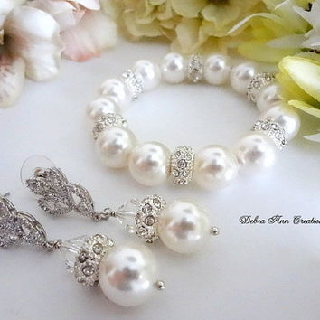 Pearl Bracelet and Earring Set Swarvoski Pearl Jewelry Set Bridesmaid Jewelry Bride Jewelry Bridal Bracelet Set Bridal Earrings Wedding Set
