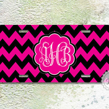 New license plate - Magenta and Black chevron with Cute curly Magenta monogram front license tag