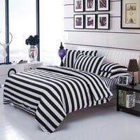 Double Color Bedding Sets Cotton Black White Style Bed Linen Quilt Cover Sheet 3/4 Twin Queen Beds